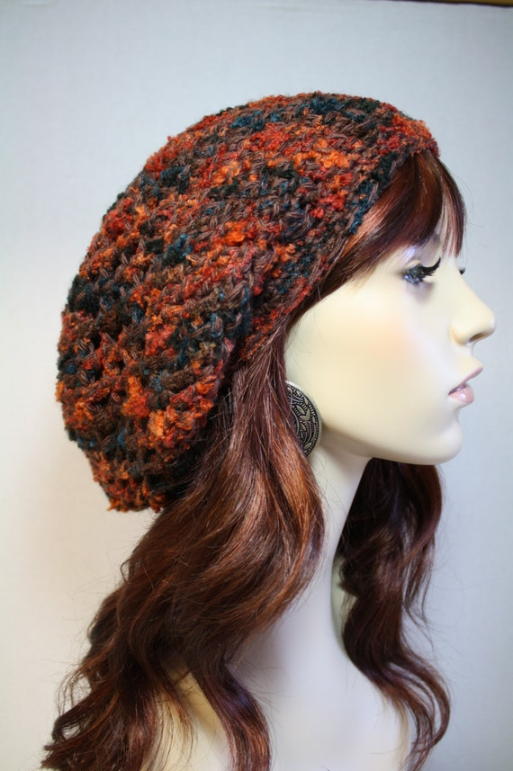 Crochet Slouchy Hat: Rusty Red, Orange, Blue and Brown. Womens Fashion, Winter Accessory
