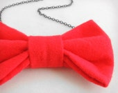 The Bow Tie Necklace - Doctor Who Style - Ruby Lipstick Red Fabric w/ Gunmetal grey/gray chain 18 inch - kitschy cute - Free U.S. Shipping