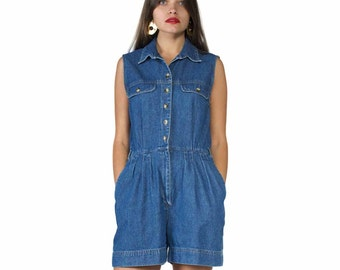 90s Denim Romper / Denim Jumpsuit