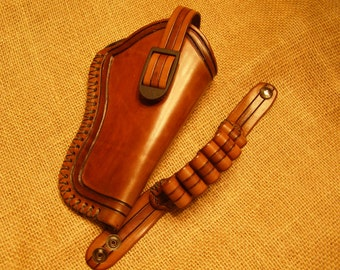 Leather  Holster for Large Frame Revolvers with Matching Bullet Bracelet