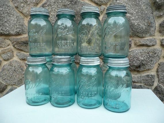 vintage blue mason jars 12 ball antique jar wedding. Black Bedroom Furniture Sets. Home Design Ideas