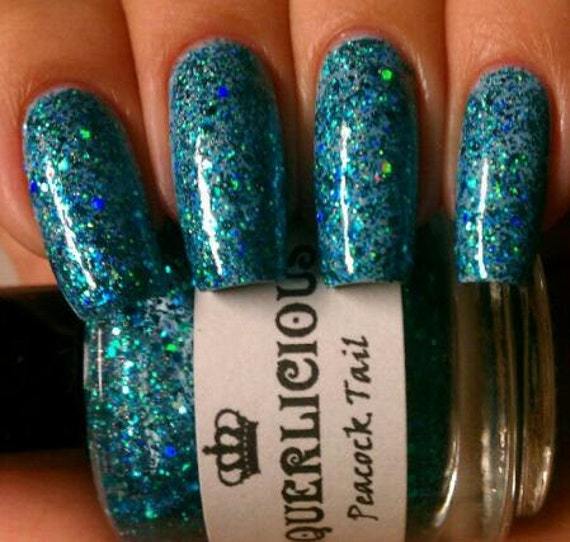 Peacock Tail - Teal Green Indie Custom Hologram Glitter Nail Polish