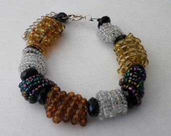 Spiral Bead Wire Wrapped Bracelet