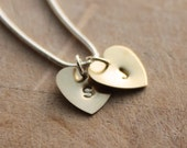 Personalised Hands Stamped Brass Heart Letter Charms on Sterling 925 Silver Snake Chain Necklace - OwlishGrey