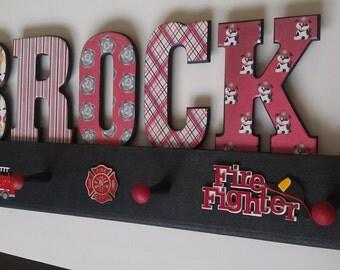 Children's Firefighter Letters-Fire Truck-room decor
