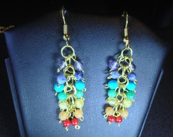 Rainbow Gemstone Dangle Earrings with Gold Plated French Hooks