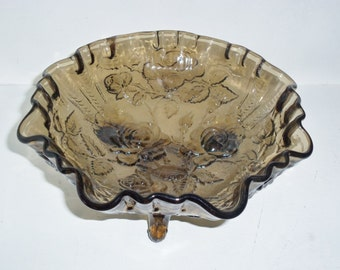 Vintage Signed Imperial Open Ruffled Rose Bowl in Charcoal Amber