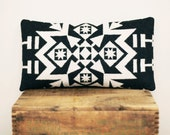 Geometric Wool Pillow // Black and White / Grey Back // S / Snowflake