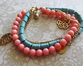 Coral and Turquoise Beaded Charm Bracelet With Gold Charms
