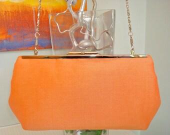 Free US Shipping Bridal Wedding Bridesmaids' Evening Tangerine Orange Linen and Silk Clutch Frame Lined Purse Bag