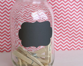 12 Large Chalkboard Vinyl Labels - Flourish, Rounded Rectangle, Oval, Scallop Rectangle - Organization Chalk Stickers - Jar Labels in Black