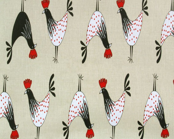 Rooster Fabric Crowing White Black Red Rooster Fabric