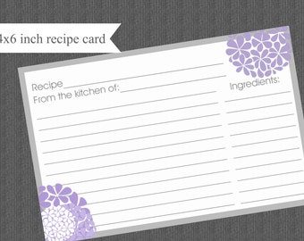 Printable Recipe Cards DIY lavender and gray with hydrangeas INSTANT DOWNLOAD digital Print Your Own 4x6