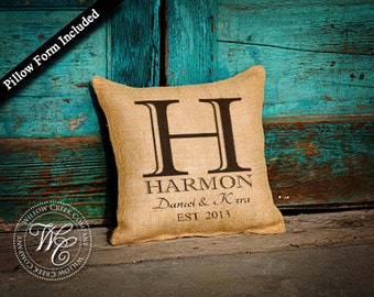 BURLAP PILLOW Personalized Wedding Gift - PILLOW with Monogram, Family Name &  Established Date