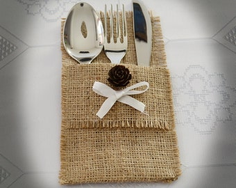 Burlap Silverware Holders, Flatware Holder, Pine Cone Decoration - SET OF 15