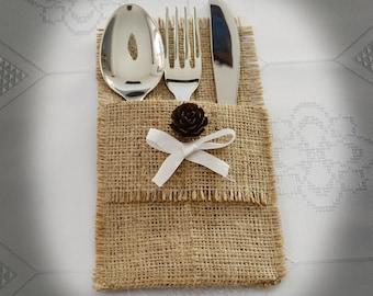 Burlap Silverware Holders, Flatware Holder, Pine Cone Decoration - SET OF 10