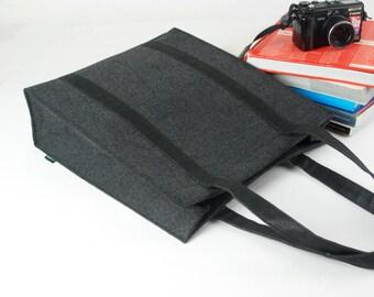 Felt Purse Large Messenger Bag Shoulder Bag  Tote Bag Casual Bag Hand Bag Shopping Bag with Black Ribbon E1758