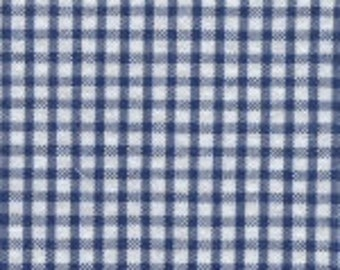 Navy and White Check Fabric Finders Seersucker