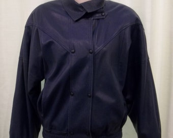 SALE // 1980s vintage slate blue leather jacket - size medium - with hexagonal snap buttons