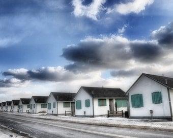 Truro Beach Cottages in Winter - Fine Art Photography 8x12 print - Nature, Coastal, Beach