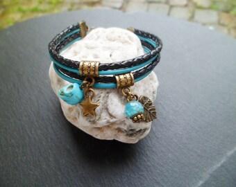 Bracelet leather 2 tones black and turquoise