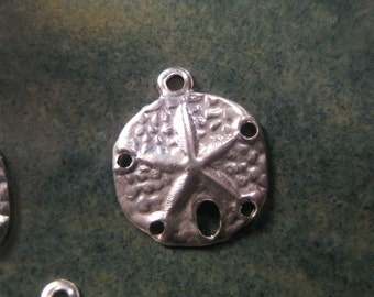 10% OFF ;). 1 Sterling Silver Sand Dollar Charm, 11mm, .7mm Hole, Hollow Back, Wholesale