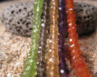 AAA Assortment Faceted Rondelles. 25 beads.Topaz, Carnelian, Peridot, Amethyst, Smoky Quartz