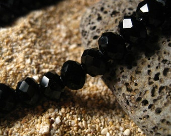 72 Beads Chinese Crystal Faceted Rondelles, 6X8mm, Black Color, Glass, Quartz,