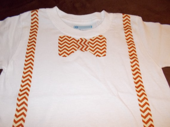 Toddler t shirt orange chevron bow tie and suspenders by for Baby shirt and bow tie