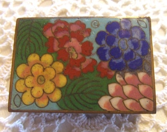 "Vintage Brass container with open sides.  A match box case I'm thinking.  Beautiful flowers.  2 1/4"" long X 1 5/8"" wide"