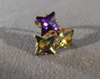Vintage Yellow Gold Tone  3 Rare Star Cut Multi  Colored Aurora Borealis Rhinestone Cluster Ring, Size 6 , Adjustable