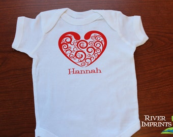 Baby HEART, personalized valentine baby one piece bodysuit