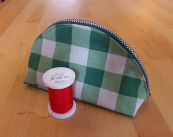 Green check 'dumpling' zip pouch