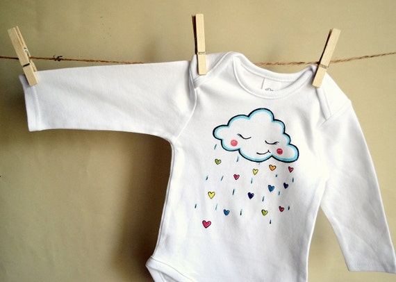 items similar to white long sleeve bodysuit for a little baby with a hand painted cloud and. Black Bedroom Furniture Sets. Home Design Ideas