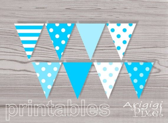 Blue Polka Dots Baby Boy Party Printable Banner Pennants