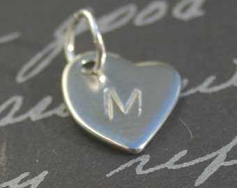 Heart Charm, ADD ON Stainless Steel Personalized Initial Heart Charm, Dangle, Necklace, Initial