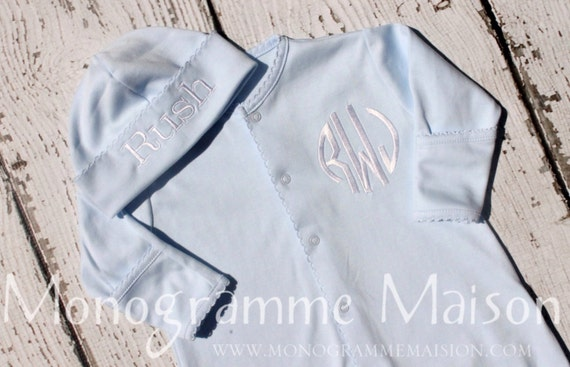 Coming Home Outfit-Baby Boy Coming Home Outfit-Baby Gift-Baby Shower Gift-Baby Boy Outfit-Monogrammed Layette Gift Set-Pima Cotton