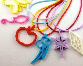My Little Pony Friendship is Magic Mane 6 Cutie Mark Pendant Necklaces 6-pack Party Favors