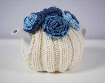 Cream Tea Cozy with Blue Crocheted Flowers.Hand-Knit.Ready to Ship.