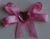 Heart Valentines Hair bow with sparkle pink heart and pink and white heart ribbon clip.
