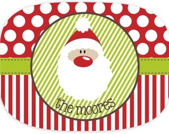 Personalized Melamine Christmas Platter - Santa