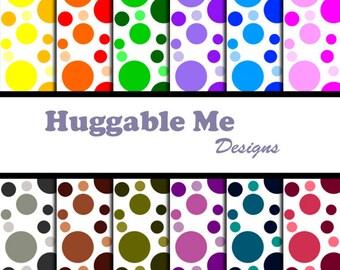Digital Polka Dot Multi-color Bubble Digital Scrapbook Papers for Scrapbooking, Card Making, Backgrounds for Instant Download - HMD00047