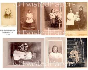 Photos and Cabinet Cards of Children/Girls from the 1880s through early 1900s, Digital Collage Sheet, 13-710