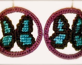 Hypnotic Butterfly HypnoWings Plastic Canvas Hypnotic Earrings