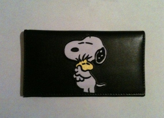 snoopy black leather checkbook cover free shipping