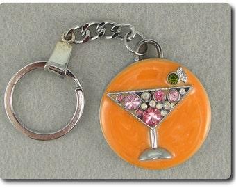 ON SALE Vintage Martini Drink Key Chain Luggage Tag
