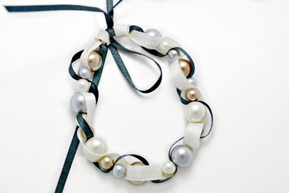 Bead and ribbon bracelet. Cream, grey and gold glass pearls. Black and ivory ribbon. Free US shipping