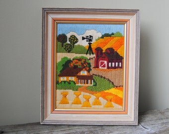 Autumn Needlepoint | Autumn in the Country | Farmhouse Fall Scene | Vintage Country Farm Needlework | Harvest Embroidery | Wall Art