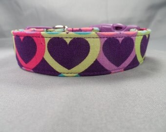 Colorful Heart on Purple Dog Collar