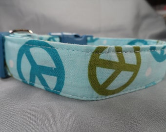 Blue Peace Signs Dog Collar